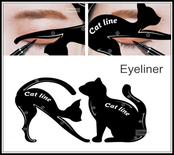 2pcs Cute Cat Eyeliner Stencil kit for eyebrows guide template Maquiagem eye shadow frames card makeup tools