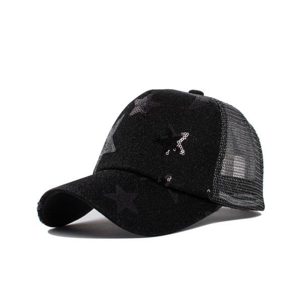 Composite Bats Summer Women Five-pointed Star Pattern BLING Mesh Baseball Cap
