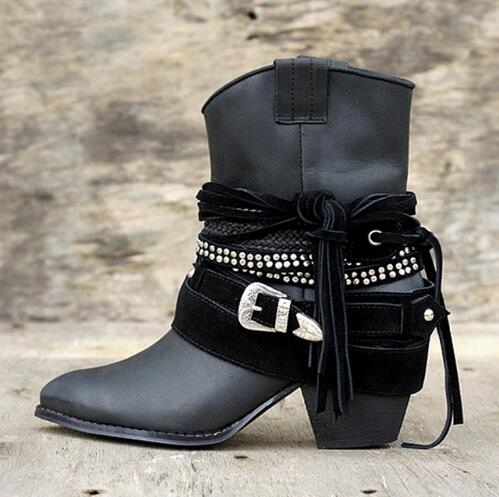 Fashion Fringe Women Short Chelsea Boots Black Genuine Leather Thick High Heels Shoes Woman Pointed Toe Metal Buckle Booties 2017 brand new women chelsea boots thick high heels dress shoes woman fashion luxury gladiator short designer booties botas