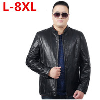 big size 8XL 7XL 6XL 5XL Men's Leather Jackets Men Stand Collar Coats Male Motorcycle Leather Jacket Casual Slim Brand Clothing
