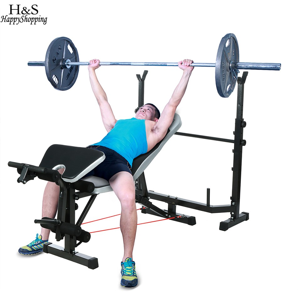 Mid-Width Fitness Bench Adjustable Weight Lifting Bench Multifunction Fitness Equipment Black