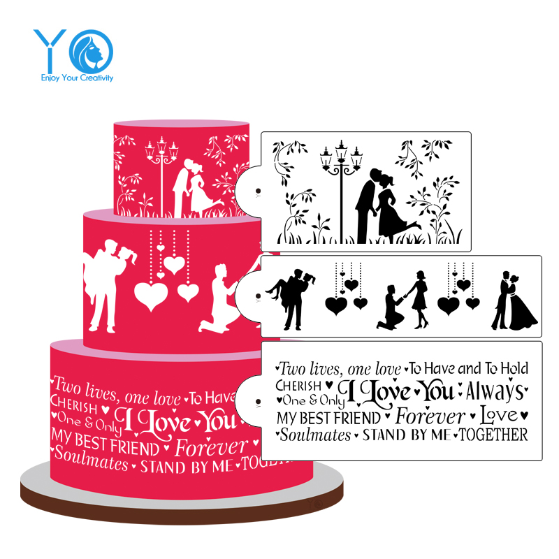 3 հատ / շատ հարսանիքի ձևավորում Cake Stencil - Խոհանոց, ճաշարան եւ բար