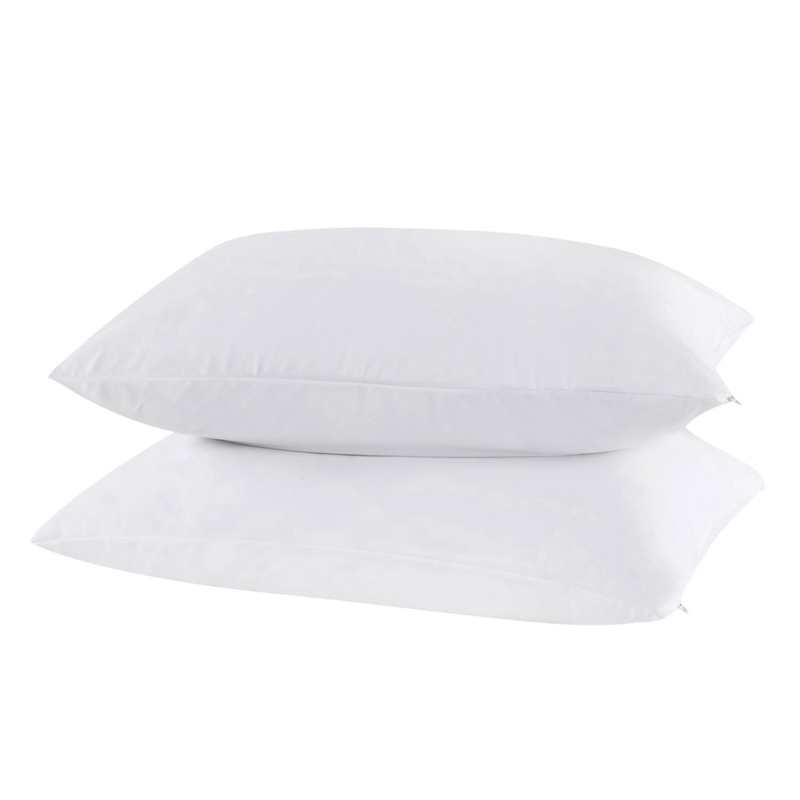 2pcs White Ultra-Soft Polyester Pillowcase Waterproof Zippered Pillowcase Allergy Bed Bug Protector Pillow Cover