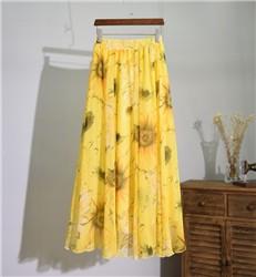 2016-Summer-Yellow-Flower-Pirnt-Chiffon-Long-Skirt-Three-Layers-High-Waist-Maxi-Skirt-Women-Boho