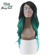 YOUNG LOOK Kanekalon Lace Front Wig Synthetic Wig High Temp Fiber Free Shipping 26 Inch Natural Wave Omber Green(China)