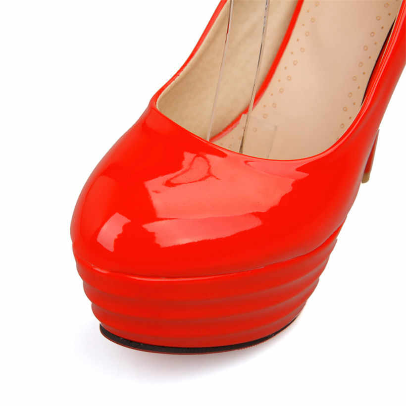 Büyük Boy 13 cm Ince Başak Yüksek Topuk Platformu Kadın Pompaları Yuvarlak Ayak Patent Deri Elbise Parti Düğün Gelin Topuklu bayan Stiletto