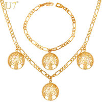 U7 Lucky Bracelet Necklace Set Trendy Gift Platinum 18K Gold Plated Charms Tree Of Life Russian