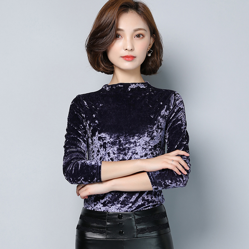 9988b5b589fb8 New 2016 autumn t shirt elegant women slim long sleeve stand collar solid  vintage velvet basics tops woman plus size t shirt-in T-Shirts from Women s  ...