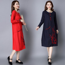 Plus Size Chinese Style Retro Embroidery Plate Buttons Cheongsam Round Neck Long Sleeve Pocket Casual Work Women Dress