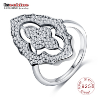 LZESHINE Luxury Women Rings Authentic Sparkling Lace Stunning Ring 925 Sterling Silver Clear CZ Party Jewelry
