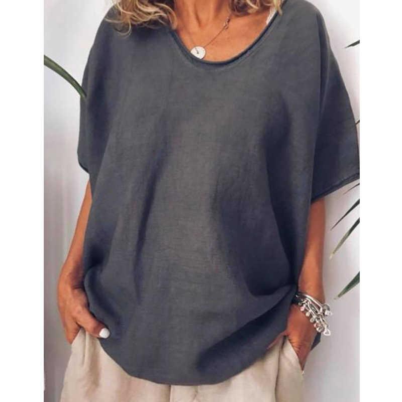 Litthing 2019 de gran tamaño ropa de algodón flojo blusas casuales de las mujeres manga corta con cuello en V de mujer de verano y la blusa de las señoras