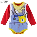 2016 New Long Sleeve Baby Clothes Bodysuits Girls Boys Gentleman Bow Print Spring Summer Newborn Infant Clothes Baby Body