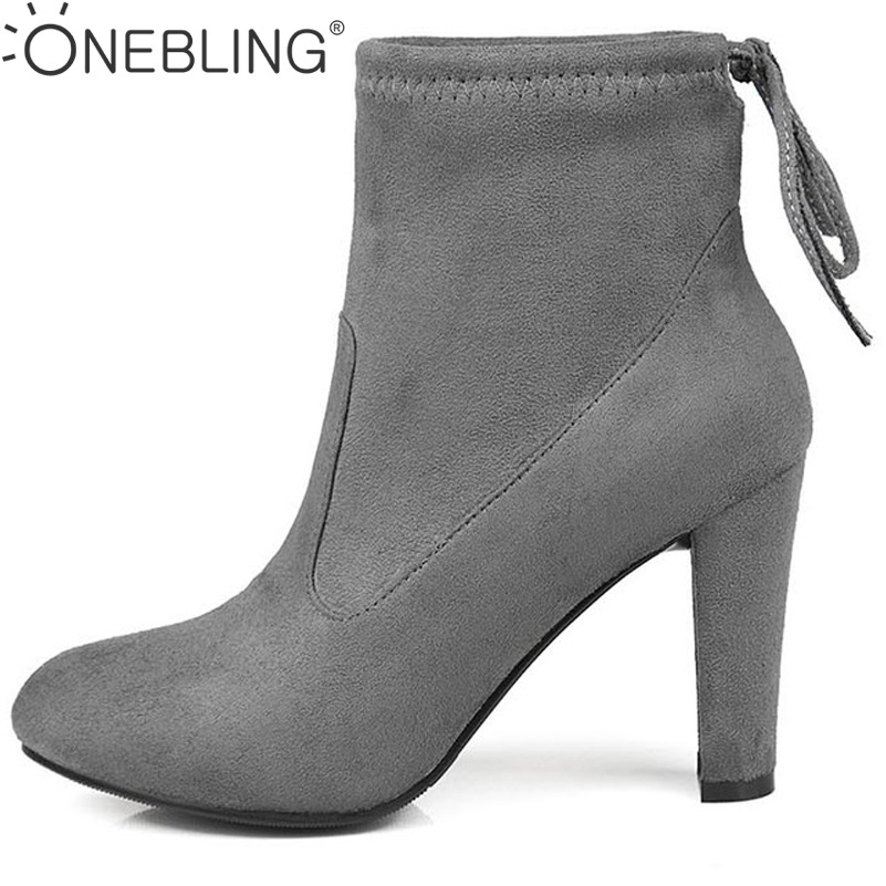 Plus Size Women Martin Boots 2017 Spring Autumn Fashion Super High Heel Shoes Women Short Boots Stretch Nubuck PU Ankle Boots 2017 fashion new red horsehair women ankle boots square high heel short booties autumn zip up martin botines mujer women pumps