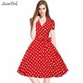 SusanDick Spring Autumn Retro Dress Women Hepburn Bow Party Bodycon Vintage Dress Ladies Fashion V-neck Dot Red Dress Vestidos
