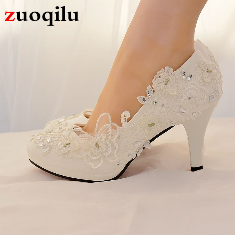 2019 High Heels Wedding Shoes Bride Rhinestone Lace Bow White Ladies Shoes Woman Platform High Heels Women Shoes Big Size