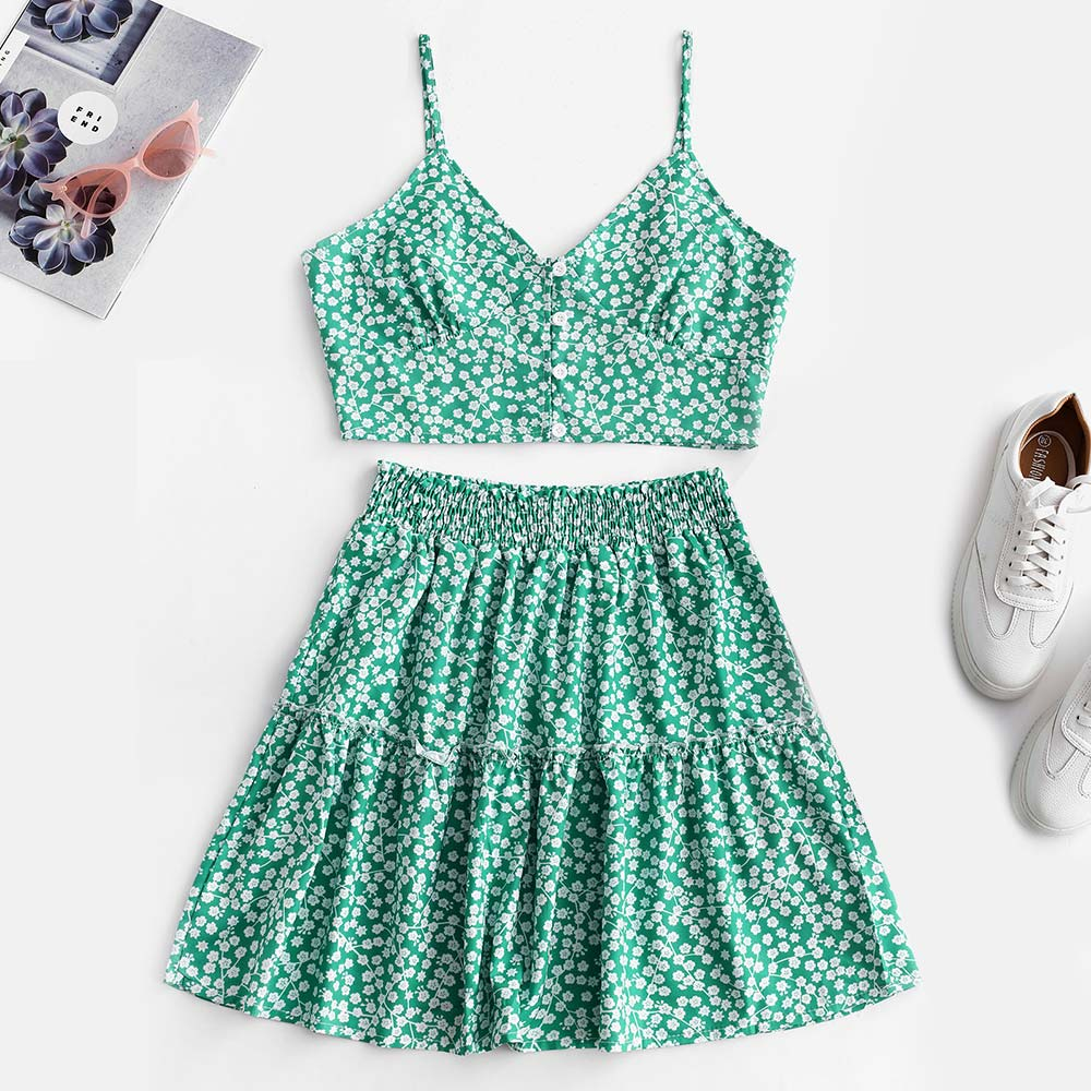 ZAFUL Women Set Floral Print Buttoned Smocked A Line Skirt Set Spaghetti Straps Vintage Two Piece Sets Crop Top High Waist Skirt