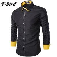 T Bird Men Dress Shirt Casual Spell Color Shirt Cotton Slim Long Sleeves Men S Shirt