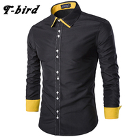T Bird Men Dress Shirt Casual Spell Color Shirt Cotton Slim Long Sleeves Men S Shirt