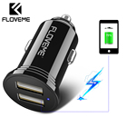 FLOVEME Mini USB Car Charger For Mobile Phone Dual USB Car Phone Charger 2.4A Fast Charging Car-Charger Adapter In Car Universal