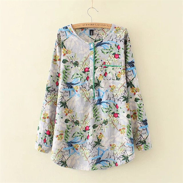 4b3e3081dd26e plus size Cotton Linen Summer Blouses Shirts Women Top Loose Blusa Mujer  Vetement Femme Fashion Print Blouse Tops