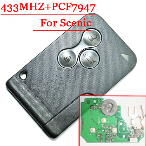 Excellent Quality 3 Button replacement  Remote Smart Card with pcf7947 chip For R enault Scenic free shipping (1pcs/lot)