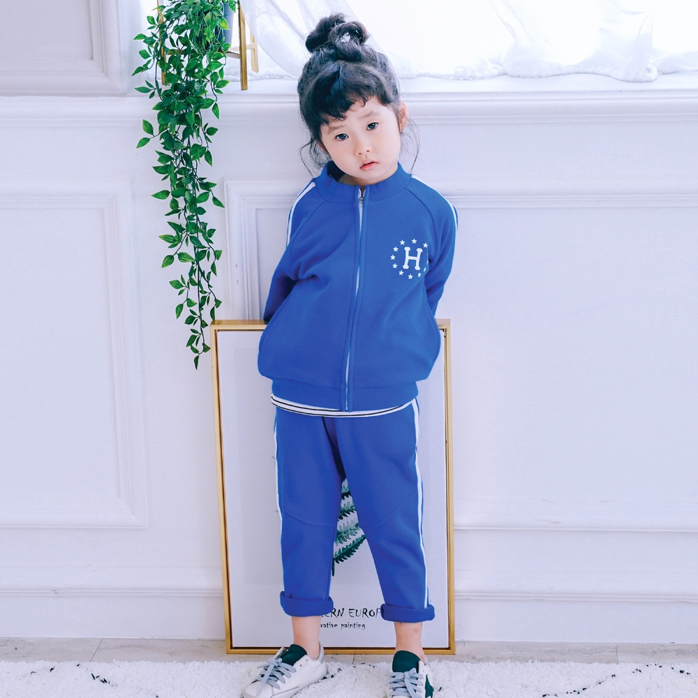HT2231 Spring Autumn Boy Girl Clothes Set Jacket+Pants 2PC Suits Baby Kids Children Clothes Fashion Sport Sets Stripe Tracksuit kimocat boy and girl high quality spring autumn children s cowboy suit version of the big boy cherry embroidery jeans two suits