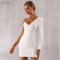 ADYCE 2019 New Autumn Women One Shoulder Celebrity Evening Party Dress Sexy White Long Sleeve Runway Bodycon Club Dress Vestidos