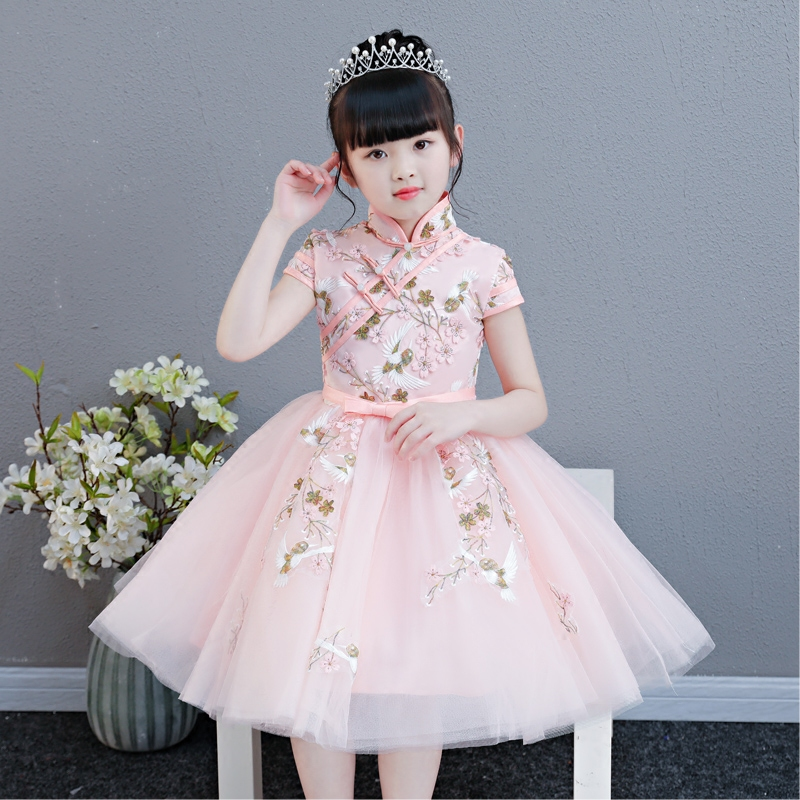 Elegant Embroidery Flowers Chinese Style Traditional Birthday Wedding Party Dress Children Cheongsam Costumes Host Guzheng Qipao red full length wedding dress elegant evening gowns chinese women embroidery flower qipao sexy cheongsam bride toast clothing