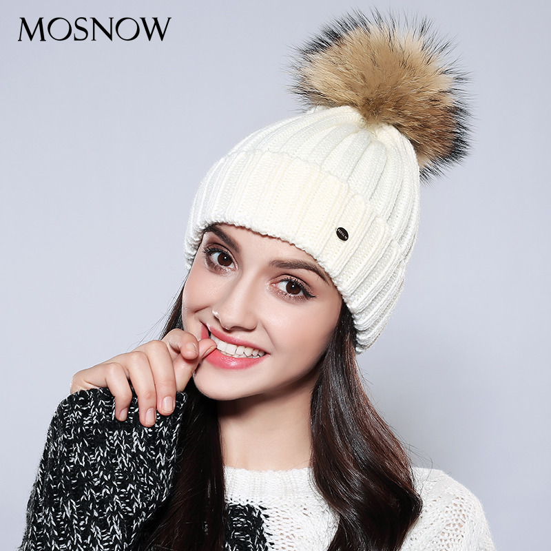 MOSNOW  Women Hat Female Wool Vogue Raccoon Fur Pompom Knitted Beanie New 2017 Winter Cap Women's Hats Skullies Beanies  #MZ751 women s winter beanie hat wool knitted cap shining rhinestone beanie mink fur pompom hats for women