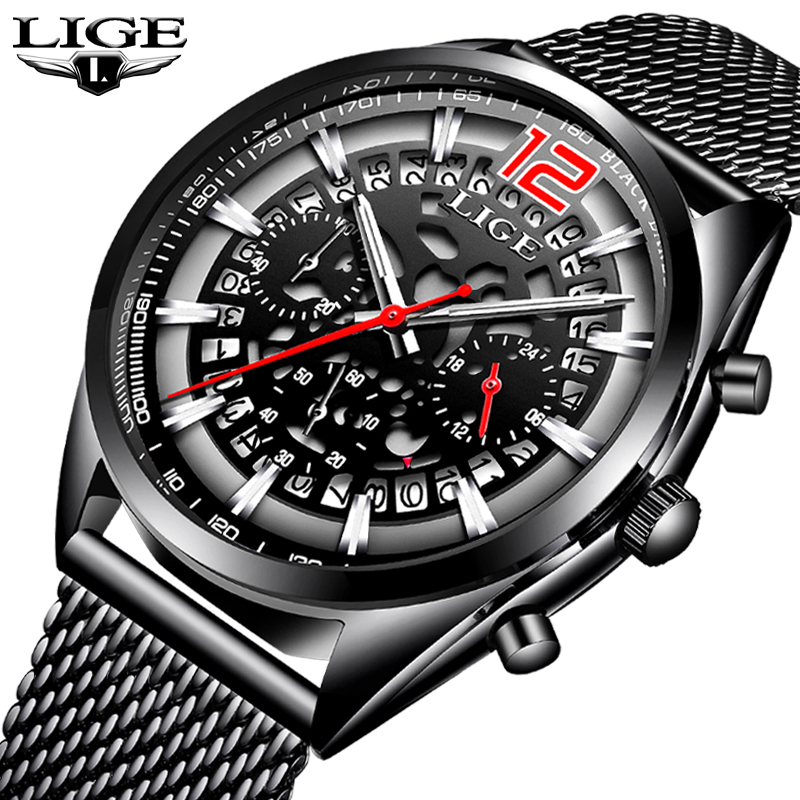 Relogio Masculino LIGE Mens Watches Top Brand Luxury Business Quartz Watch Men Steel Mesh Strap Casual Waterproof Sport Watch weide popular brand new fashion digital led watch men waterproof sport watches man white dial stainless steel relogio masculino