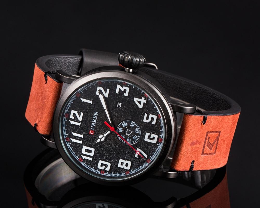 Men Watch Brand CURREN Fashion Big Digital Dial Male Wristwatch Casual Calendar Quartz Leather Clock Montre Homme Reloj Hombre