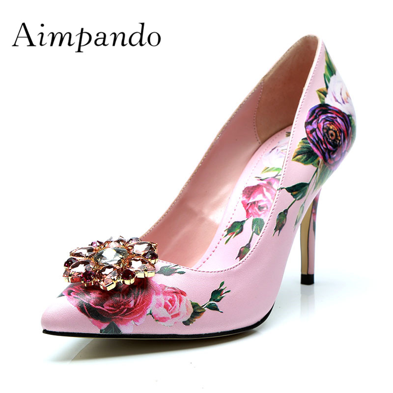 2019 Newest High Heel Shoes Woman Pointed Toe Mix Color Flower Pumps Women Fashion Wedding Shoes