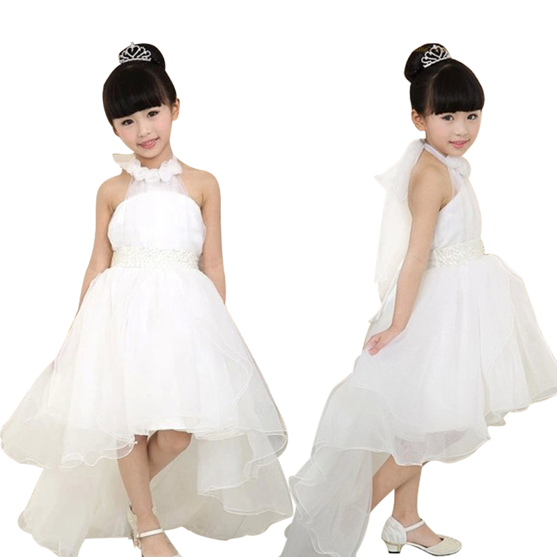 Baby Girls Party Dress Princess Lace Long Tail Wedding Kids Dresses Vestido Elegant Flower Girl Dress Evening Wear