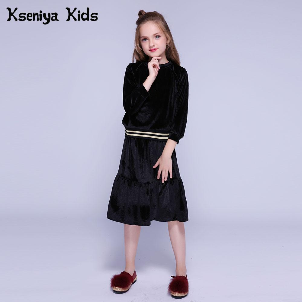Kseniya Kids Clothes Velvet Girls Clothing Sets Autumn Winter Long Sleeve Coat+Skirt 2 Piece Set Girl Outfit Children Clothing 2018 girl summer sets new children s skirt 2pcs college chiffon clothing set white half sleeve blouse black long skirts suits