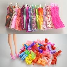Mix sorterar 10 st vacker fest handgjord mini mode klänning duk kläder kort kjol +10 skor för barbie docka barn gåvor leksaker