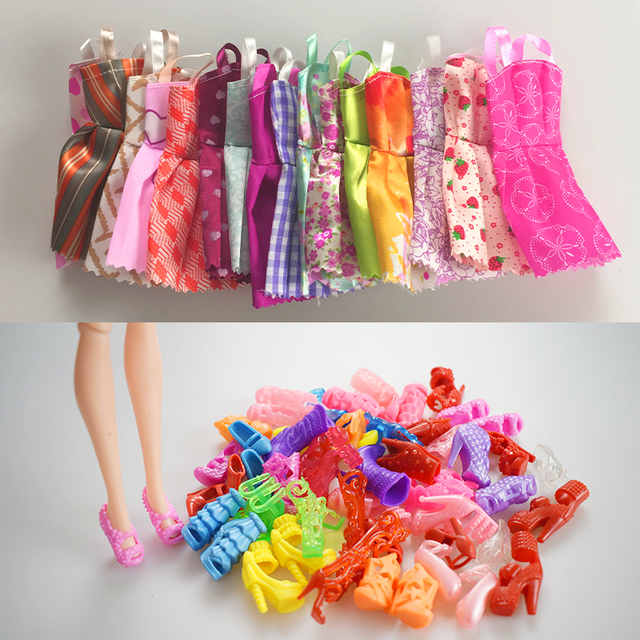 Mix Sorts 10 Pcs Beautiful Party Handmade Mini Fashion Dress Doll Clothes Short Skirt +10 Shoes For Barbie Doll Kids Gifts Toys