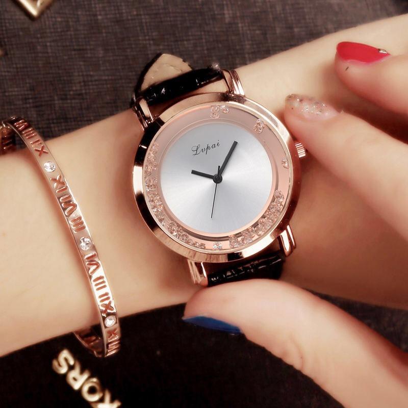 Lvpai Brand Leather Watches For Women Fashion Simple Big Drift Sand Style Dial Rhinestone Dress Quartz Watch Luxury Sport Clock