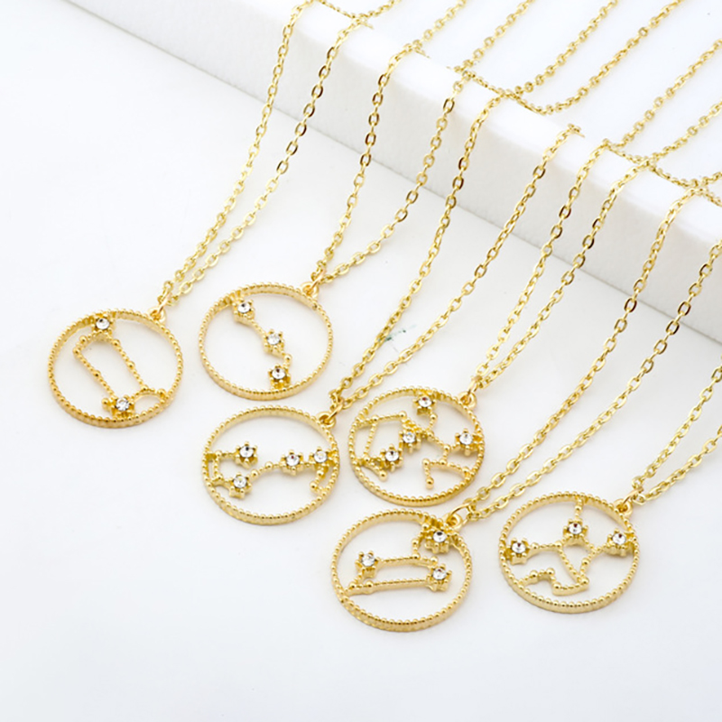 SRCOI Dainty Cryatal Gold Color Zodiac Necklace Minimalist Zodiac Outline Layering Constellation Necklace For Women Star Jewelry