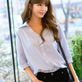 2017 Spring Women Striped Blouse Three Quarter Sleeve Loose Casual Blue and White Office Ladies Shirts Tops For Woman