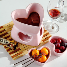 Free shipping 250cc Heart shape pink  fondue set ice cream pot chocolate fondue ceramic cheese hot pot with fork and candle
