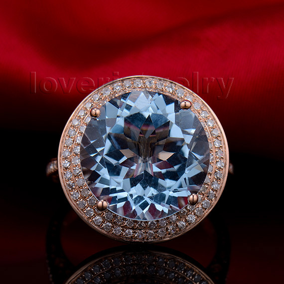Vintage Fancy! Solid 14K Rose Gold 8.76Ct Diamond Natural Blue Topaz Wedding Ring solid 14k rose round 13mm gold diamond natural blue topaz ring wedding ring hot sale