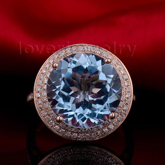 LOVERJEWELRY, винтажное, необычное, твердое, 18 карат, розовое золото 8,76 карат, бриллиант, натуральный голубой топаз, обручальное кольцо