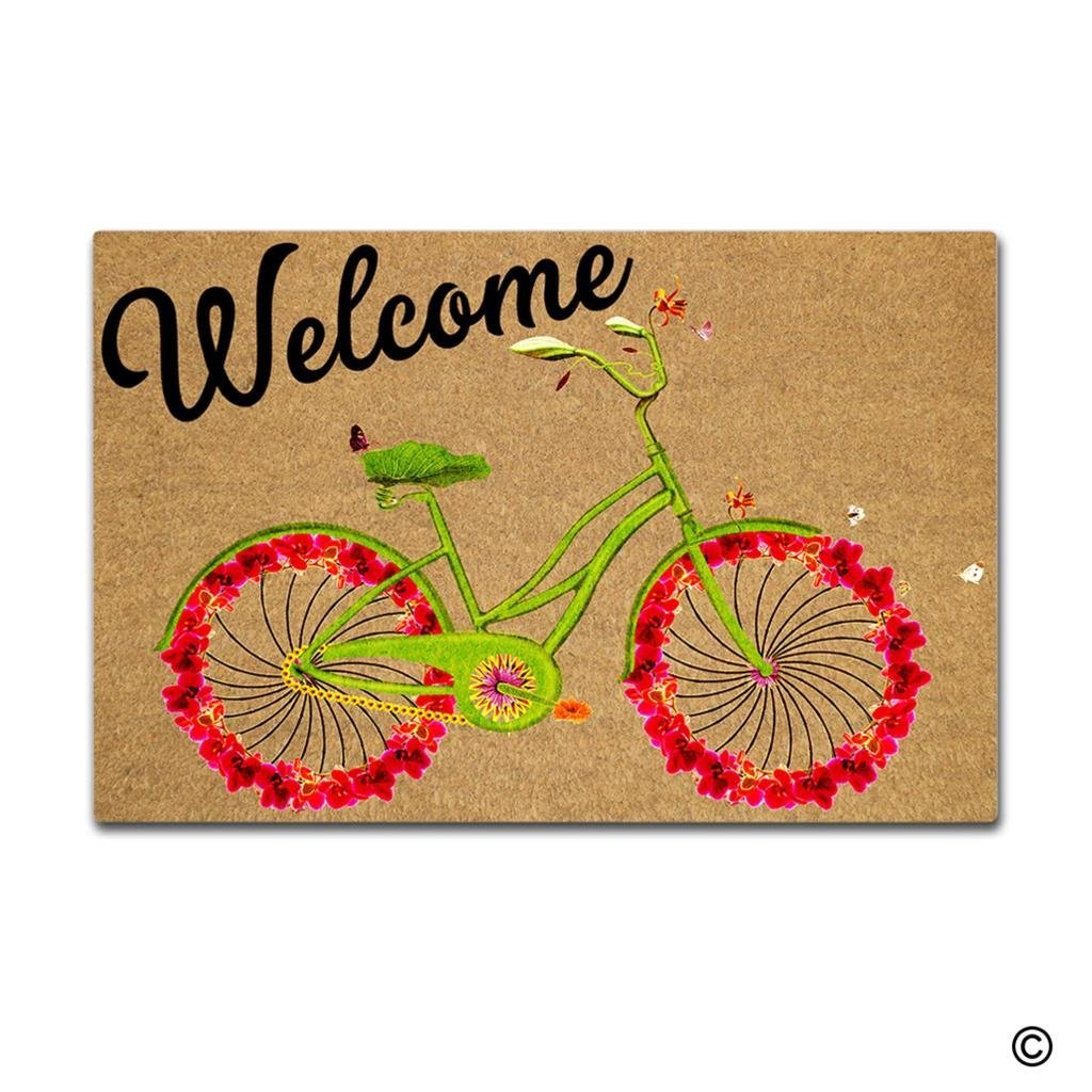 MsMr Funny Doormat - Welcome Bicycle Entrance Mat Indoor Outdoor Mat Non-woven Fabric Top 23.6x15.7