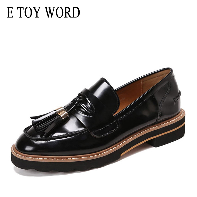 E TOY WORD Spring Autumn Women Loafers Flats Shoes Round Toe Patent Leather Tassel Oxford Shoes Women Sewing Slip-on Women Shoes