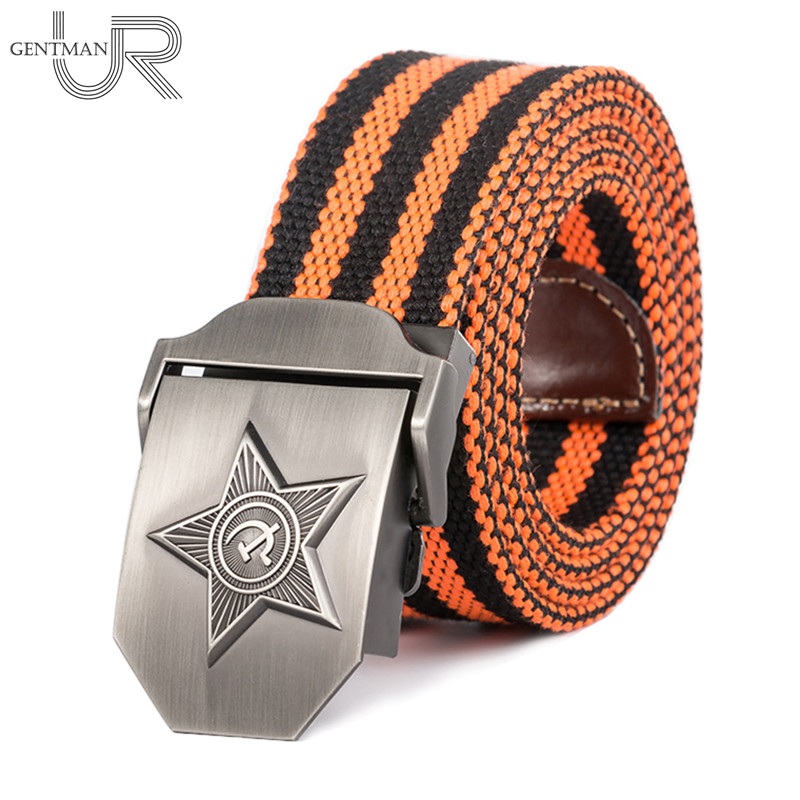 New Men & Women High Quality 3D Five Rays Star Military   Belt   Old CCCP Army   Belt   Patriotic Retired Soldiers Canvas Jeans   Belt