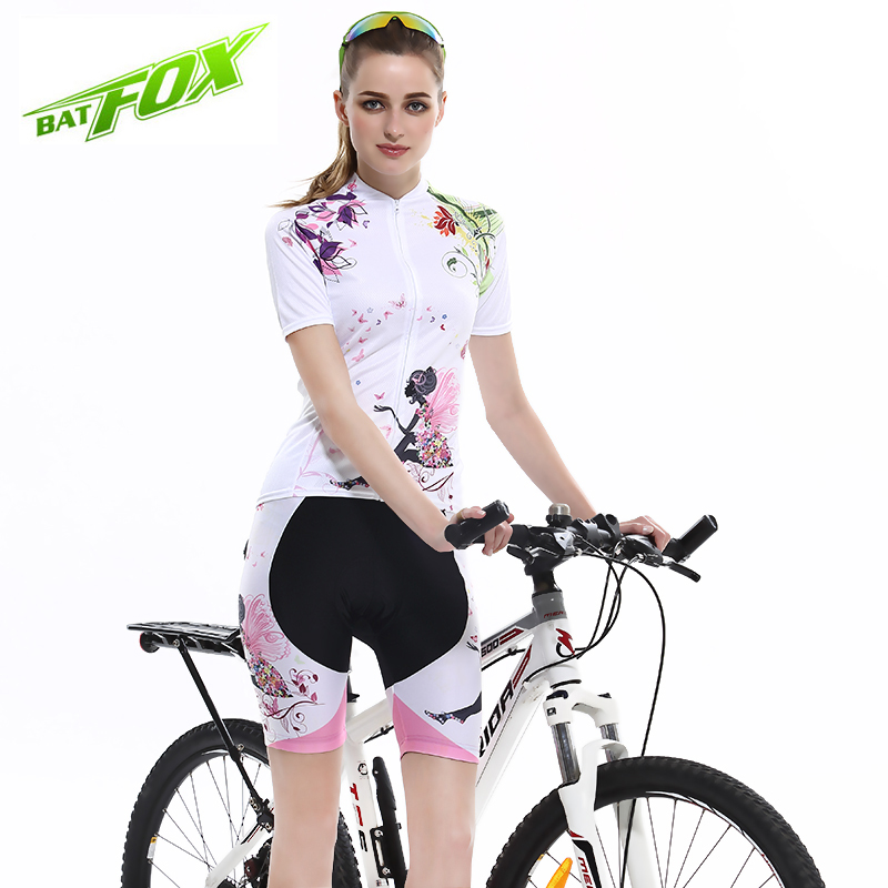 цена на Hot Sale! Summer Women Cycling MTB Short Sleeves Jersey Sets Bike Bicycle Suits Shirts Padded Cycling Short Sport Wear Uniforms