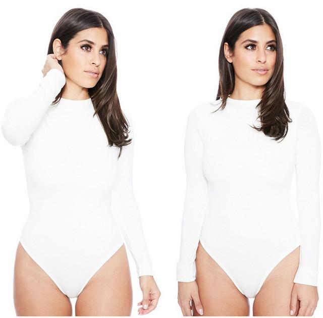 Black White Long Sleeve Bodysuit Tops Female