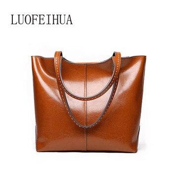 LUOFEIHUA leather bag 2020 new simple shoulder messenger bag Vintage cowhide handbag Shopping bags
