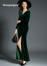Black Long Sleeve Velvet Dress Women V-neck Wrap Party Solid Sexy Midi Plus Size Vestido