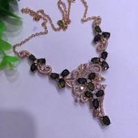 Натуральный темно синие сапфир Цепочки и ожерелья Природный камень кулон Цепочки и ожерелья 925 серебристые женские роскошные модные цветы